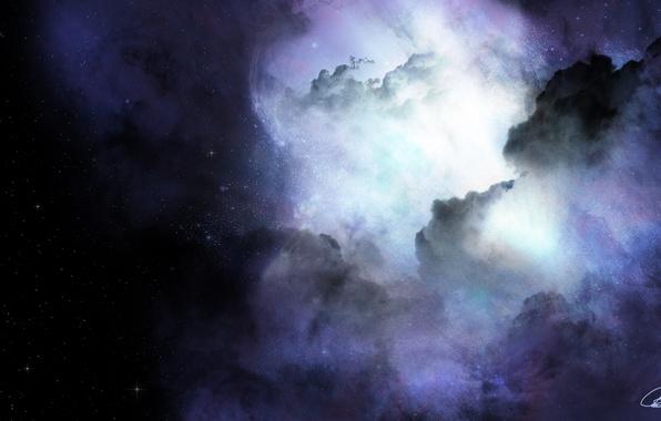 Картинка космос, звезды, облака, туманность, свечение
