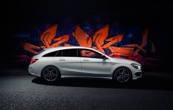 Картинка граффити, Mercedes, мерседес, graffiti, AMG, амг, UK-spec, Shooting Brake, CLA 45, 2015, X117