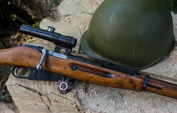 Картинка оружие, фон, Орден, винтовка, каска, снайперская, Мосина, M91/30, магазинная