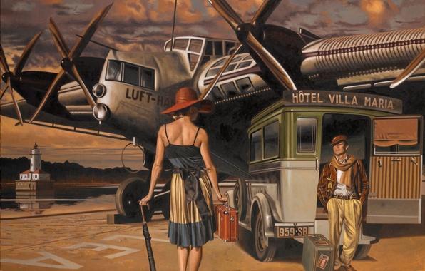 Картинка машина, самолет, зонтик, женщина, рисунок, спина, шляпа, мужчина, чемодан, Peregrine Heathcote