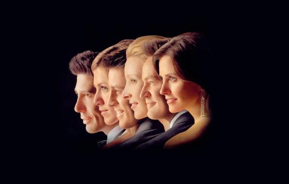 Картинка улыбка, силуэт, профиль, сериал, Дженнифер Энистон, актеры, Мэттью Перри, персонажи, комедия, ситком, Росс Геллер, Лиза …