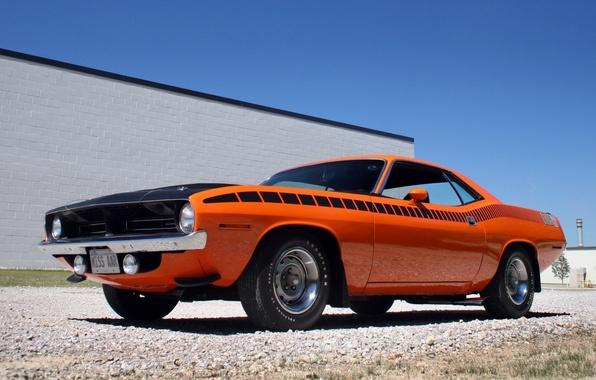 Картинка небо, оранжевый, мускул кар, классика, 1970, Plymouth, передок, Muscle car, плимут, Cuda, аар, куда, AAR