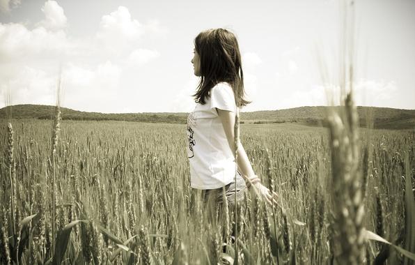 Картинка пшеница, девушка, природа, девушки, настроения, рожь, черно-белая, брюнетка