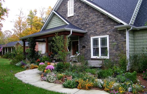 Картинка трава, цветы, газон, дорожка, особняк, кусты, осень.дом