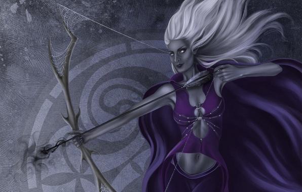 Картинка девушка, паутина, лук, лучница, арт, эльфийка, белые волосы, дроу