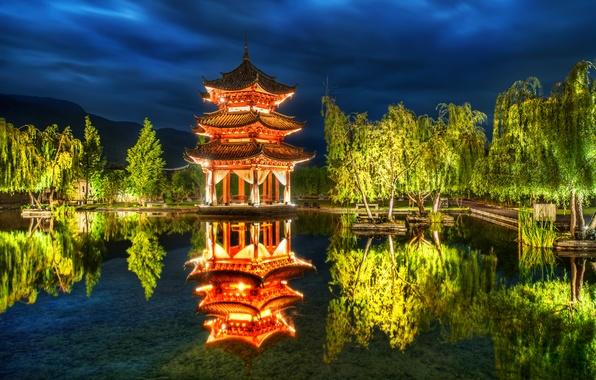 Картинка деревья, пруд, парк, отражение, China, Китай, пагода, Lijiang