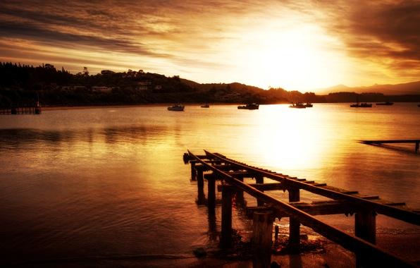 Картинка море, небо, вода, горы, мост, природа, фон, widescreen, обои, корабли, лодки, wallpaper, судно, широкоформатные, background, …