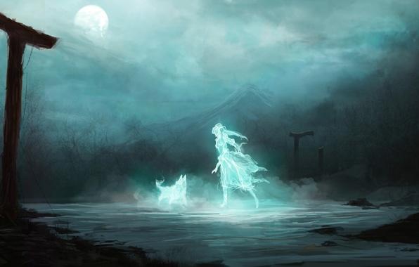 Картинка девушка, ночь, фантастика, луна, гора, волк, дух, арт, призрак, руины, арки
