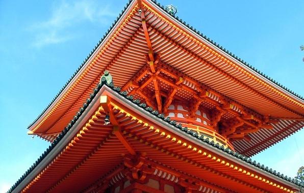 Обои картинки фото крыша небо япония