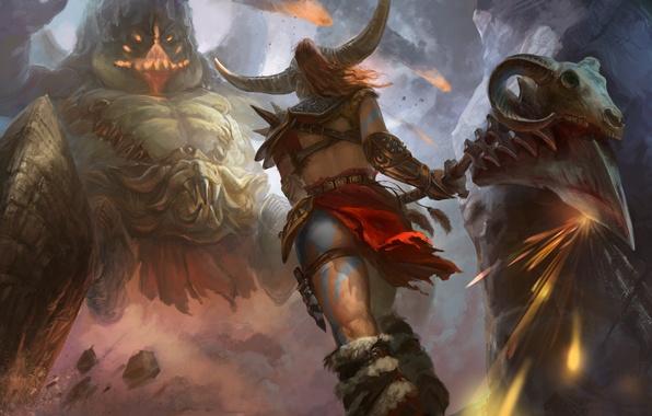 Картинка девушка, оружие, фантастика, игра, монстр, арт, Diablo 3, Barbarian, Варвар