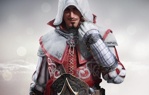 Картинка усы, взгляд, знак, сталь, капюшон, перчатки, броня, мечь, убийца, ухмылка, Ubisoft, клинок, Assassins Creed: Identity, …