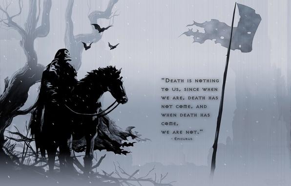 Картинка конь, лошадь, мысли, флаг, Смерть, летучие мыши, вечность, bat, Death, философия, flag, horse, eternity, Эпикур, …