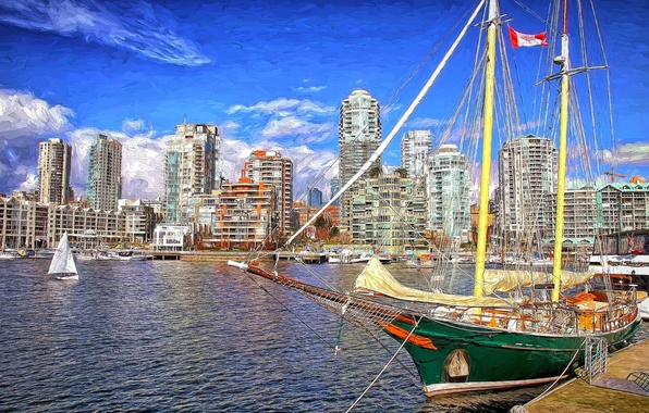 Картинка город, корабль, пристань, Canada
