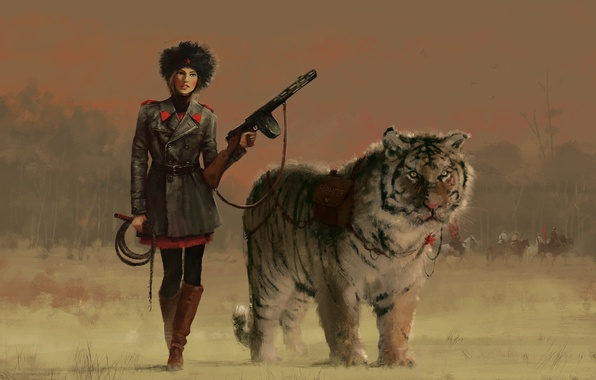 Картинка девушка, тигр, оружие, животное, арт, форма, живопись