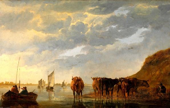 Картинка небо, пейзаж, река, люди, лодка, картина, парус, Пастух с пятью коровами на реке, Альберт Кёйп