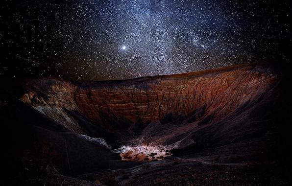 Картинка earth, night, mountains, stars