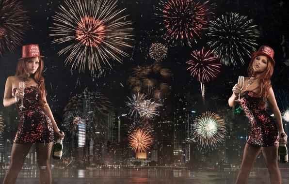Картинка бутылка, Новый год, фейерверк, шампанское, ночной город, Tancy Marie
