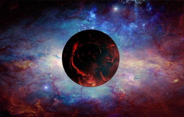Картинка dark, light, Star, blue, planet, Sci FI