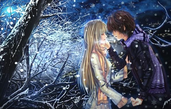 Картинка девушка, снег, ночь, эмоции, дерево, луна, шарф, слезы, арт, пара, парень