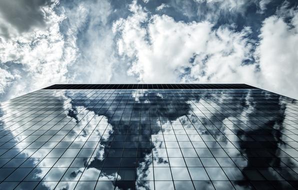 Картинка небо, стекло, город, отражение, вверх, здание, окна