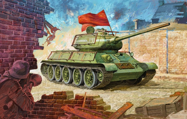 Картинка рисунок, средний танк, ркка, панцерфауст, красное знамя, Т-34/85
