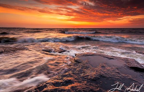 Картинка море, небо, вода, облака, закат, камни, океан, скалы, вечер, выдержка