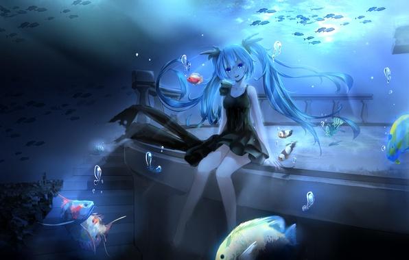 Картинка девушка, рыбки, пузыри, аниме, арт, лестница, vocaloid, hatsune miku, под водой, magicians