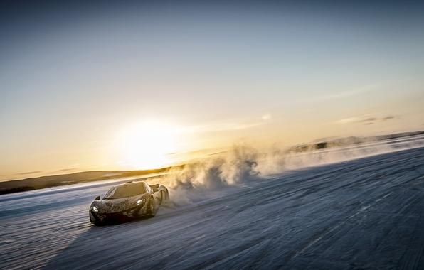 Картинка снег, McLaren, скорость, суперкар, МакЛарен