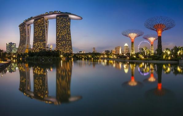 Картинка море, ночь, город, огни, отражение, здания, Сингапур, чертово колесо