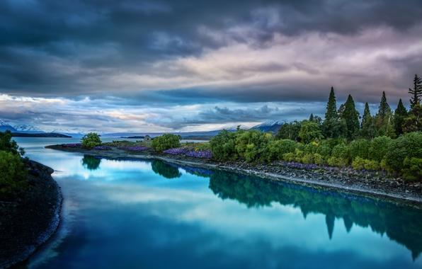 Картинка небо, пейзаж, тучи, природа, озеро, Новая Зеландия, New Zealand, Lake Tekapo, Текапо