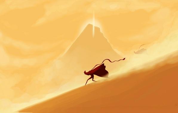 Картинка пустыня, гора, бег, существа, лента, journey