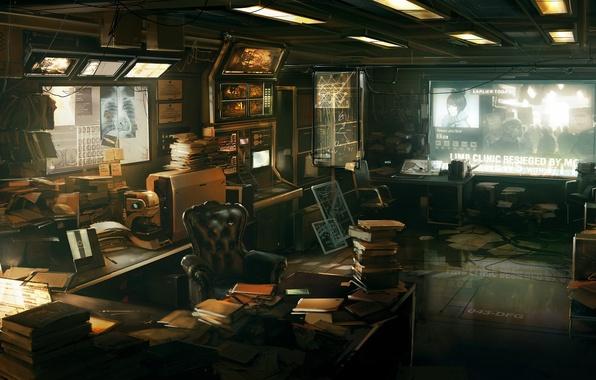 Картинка наука, книги, кабинет, Deus Ex: Human Revolution