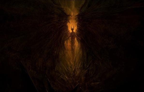 Картинка фентези, мрак, демон, арт, шипы, Крылья