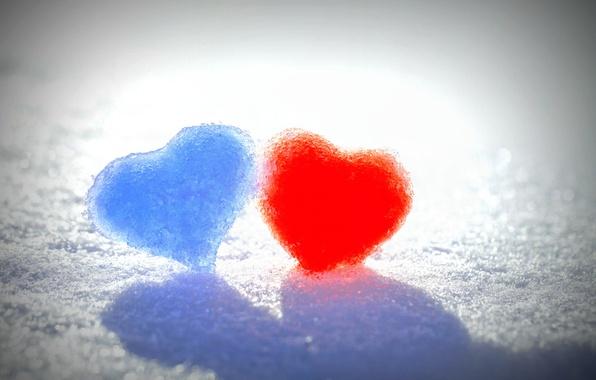 Картинка зима, снег, любовь, синий, красный, фон, widescreen, обои, настроения, сердце, wallpaper, red, love, сердечко, heart, ...