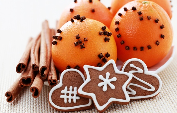 Картинка праздник, новый год, декорации, корица, happy new year, мандарины, christmas decoration, новогодние обои, christmas color, …