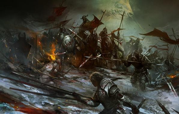 Картинка огонь, кровь, воин, флаги, ранение, трупы, нежить, Войско