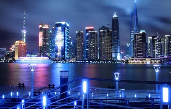 Картинка ночь, город, огни, река, China, небоскребы, Китай, Shanghai, Шанхай, аэропорт, набережная, Хуанпу, Pudong, башня Цзинь …