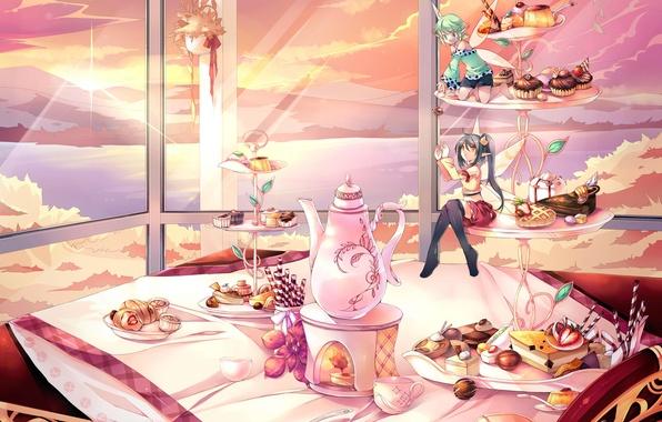 Картинка море, цветок, солнце, облака, пейзаж, закат, горы, стол, еда, крылья, вечер, аниме, чайник, фея, окно, ...