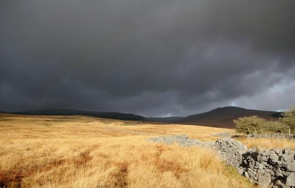 Картинка поле, трава, тучи, камни, радуга, кладка, сухая