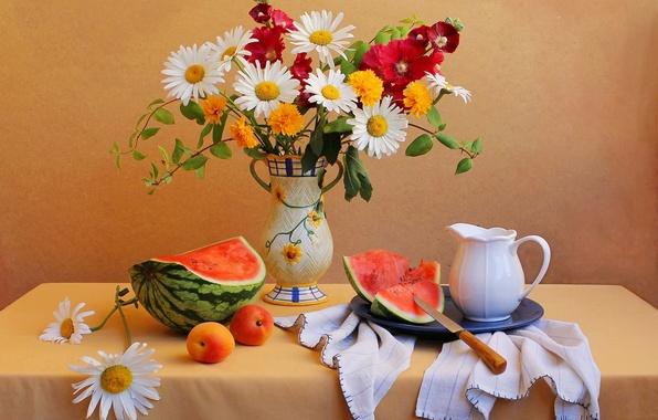 Картинка цветы, стол, букет, арбуз, нож, ваза, кувшин, натюрморт, абрикос