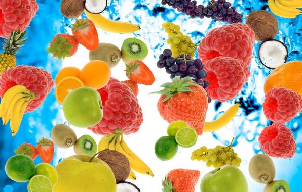 Картинка вода, ягоды, малина, яблоки, кокос, киви, клубника, виноград, бананы, лайм, фрукты, ананас