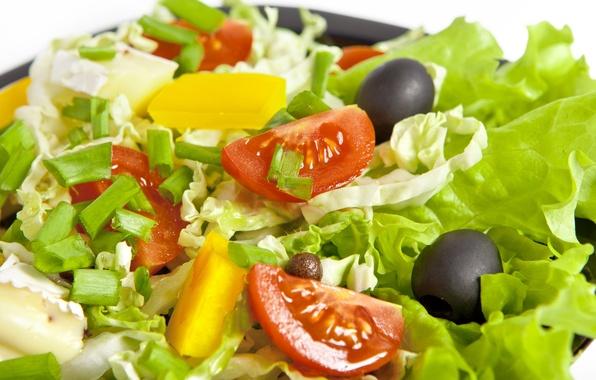 Картинка листья, сыр, лук, ананас, помидор, оливки, капуста, leaves, салат, pineapple, cheese, cabbage, tomato, Salad, onion, ...