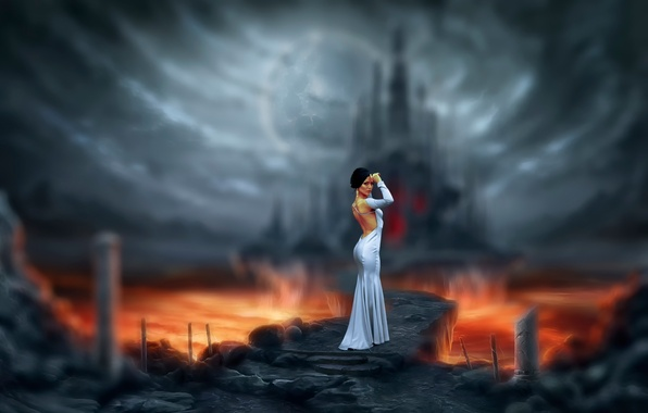 Картинка девушка, путь, замок, платье, арт, лава, Марина, Bogdan Gudak, Invitation to Hell