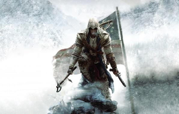 Картинка убийца, ubisoft, ассасин, ассассинс крид, Дезмонд, юбисофт, Assassin's Creed III, Радунхагейду, ac3, Коннор, кредо убийцы