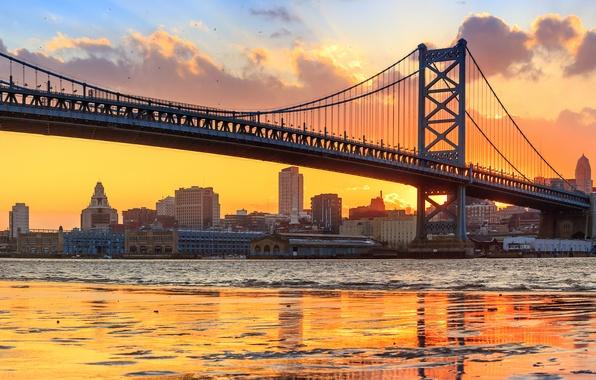 Картинка мост, река, панорама, Филадельфия, Пенсильвания, Pennsylvania, Philadelphia, река Делавэр, Benjamin Franklin Bridge, Delaware River, Мост …