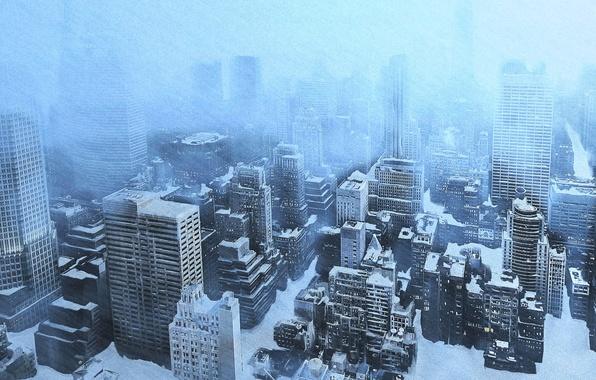 Картинка холод, лед, зима, снег, город, вид, дома, небоскребы, сугробы, метель