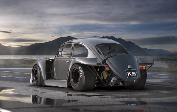 Картинка Volkswagen, Car, Old, Beetle, Tuning, Future, DRAG, by Khyzyl Saleem