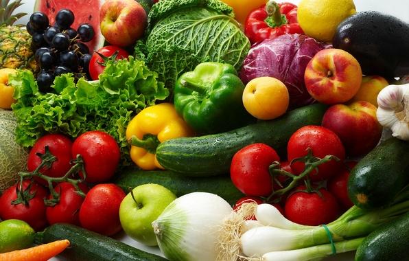 Картинка лимон, яблоки, лук, виноград, баклажан, фрукты, овощи, помидоры, капуста, огурцы, абрикосы, салат, паприка, нектарины, цуккини