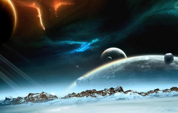 Картинка космос, звезды, снег, горы, планеты, сияния