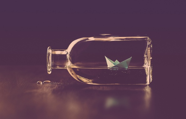 Картинка water, drops, bottle, paper boat
